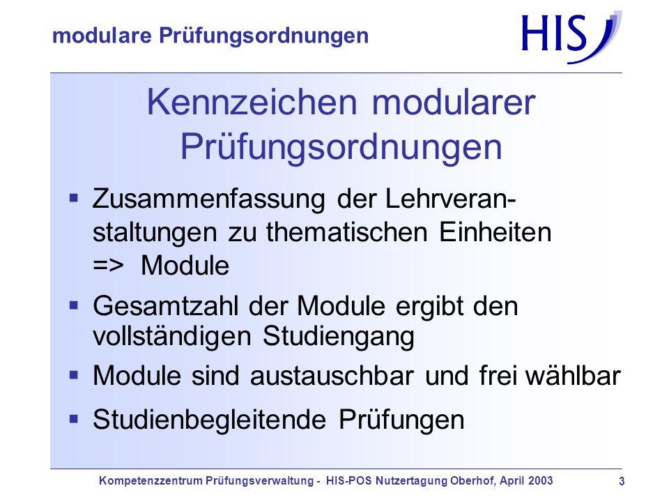 Kompetenzzentrum Prüfungsverwaltung - HIS-POS Nutzertagung Oberhof, April 2003 3 modulare Prüfungsordnungen Kennzeichen modularer Prüfungsordnungen Zu