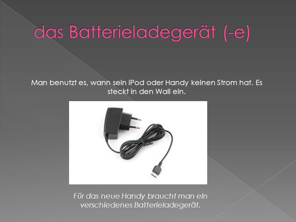 elektrischen Strom in eine Batterie schicken, damit diese wieder funktioniert Sie ladt ihr Handy wieder auf.