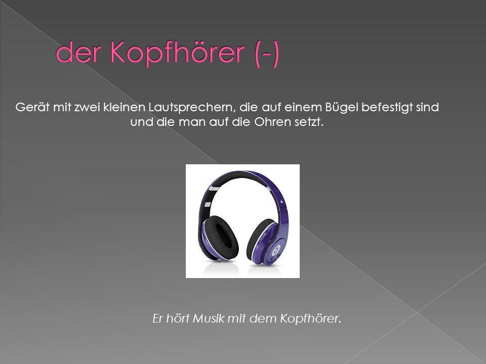 Gerät mit zwei kleinen Lautsprechern, die auf einem Bügel befestigt sind und die man auf die Ohren setzt.