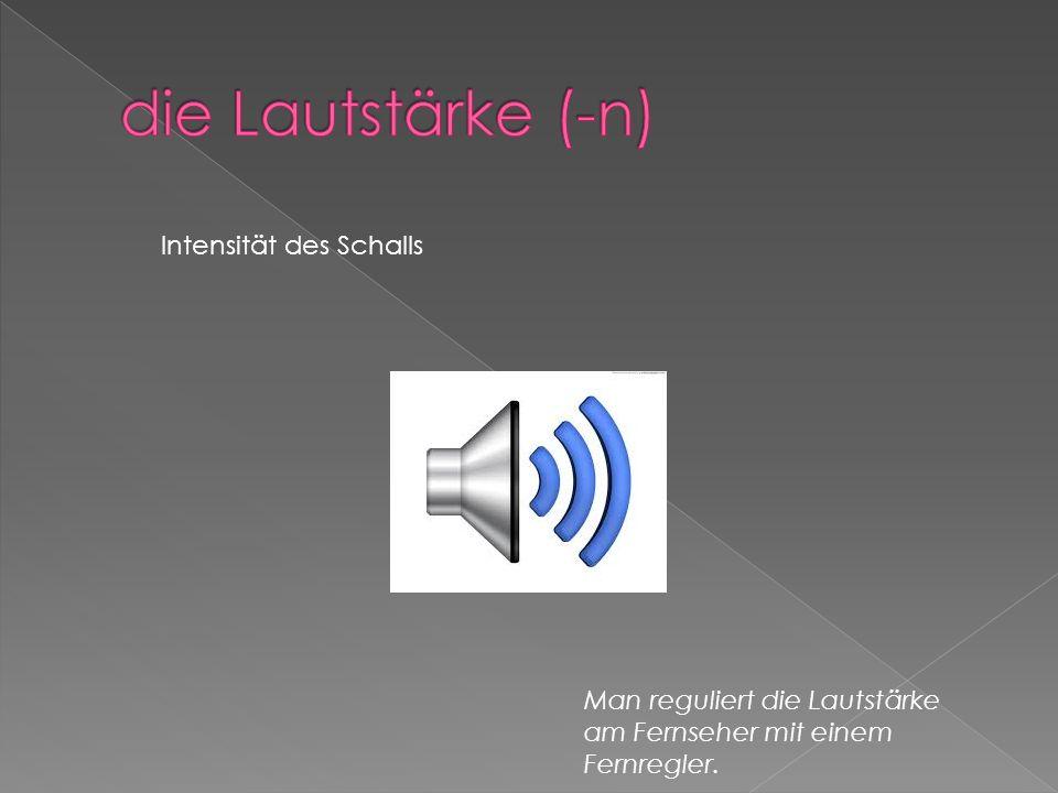 Intensität des Schalls Man reguliert die Lautstärke am Fernseher mit einem Fernregler.