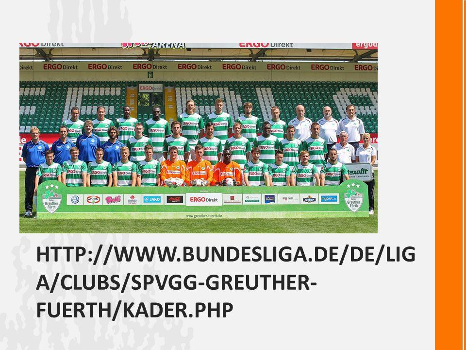HTTP://WWW.BUNDESLIGA.DE/DE/LIG A/CLUBS/SPVGG-GREUTHER- FUERTH/KADER.PHP Foto der Mannschaft +Offizielle Webseite