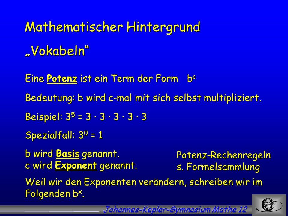 Mathematischer Hintergrund Vokabeln Eine Potenz ist ein Term der Form b c Bedeutung: b wird c-mal mit sich selbst multipliziert. Beispiel: 3 5 = 3 3 3