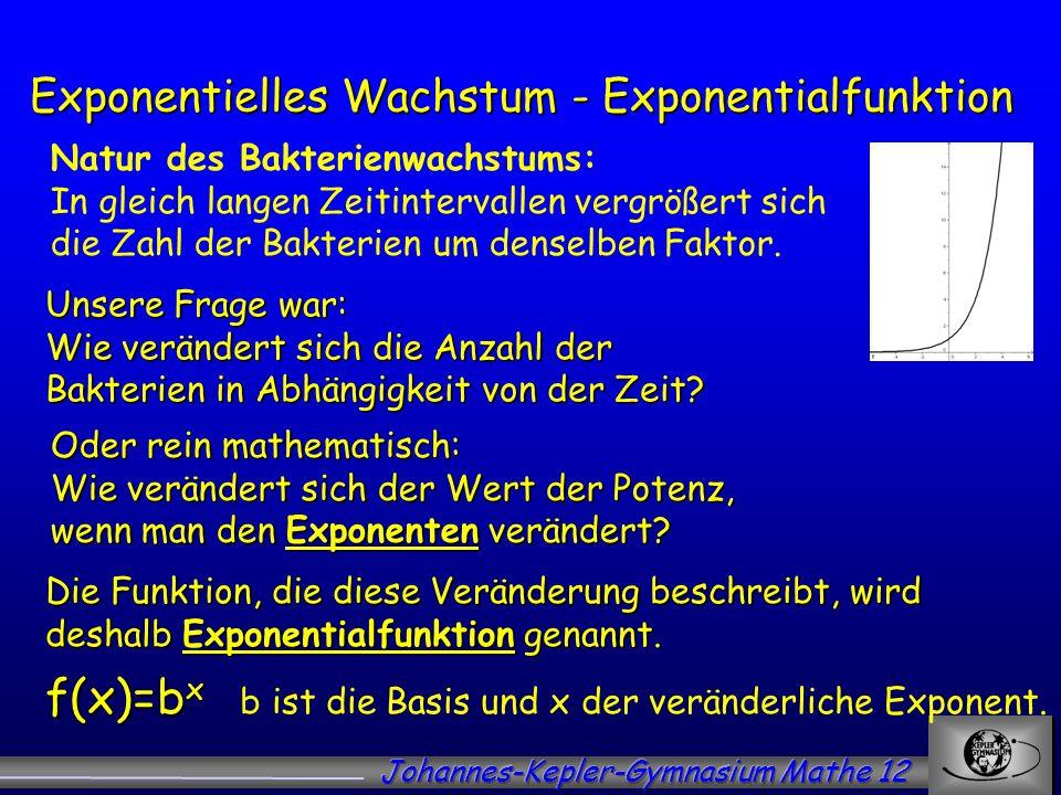 Exponentielles Wachstum - Exponentialfunktion Unsere Frage war: Wie verändert sich die Anzahl der Bakterien in Abhängigkeit von der Zeit? Die Funktion