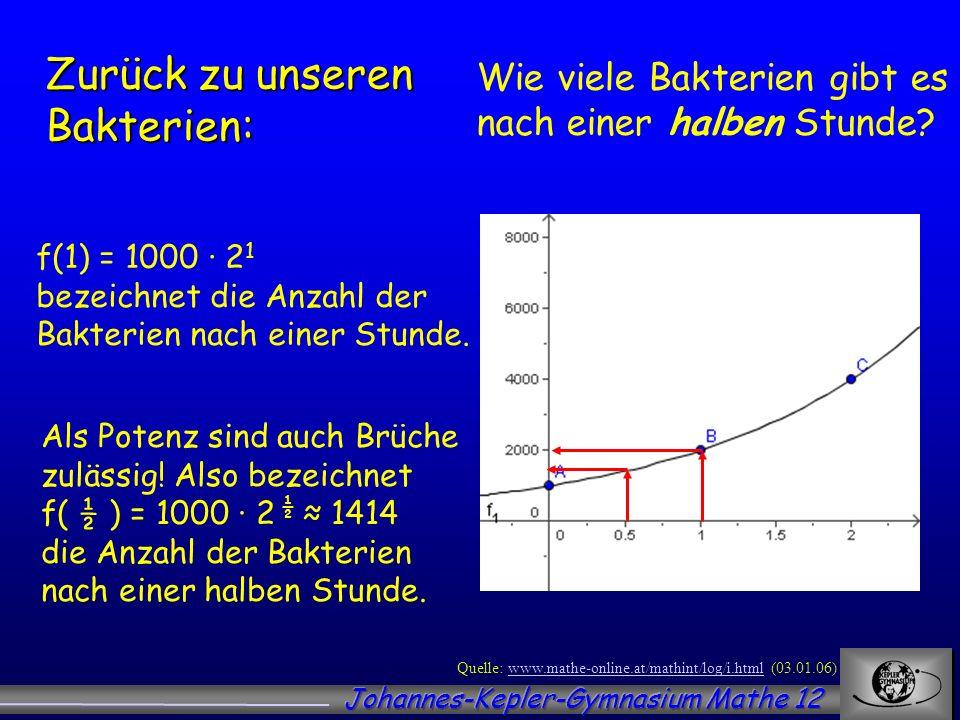 Wie viele Bakterien gibt es nach einer halben Stunde? Quelle: www.mathe-online.at/mathint/log/i.html (03.01.06)www.mathe-online.at/mathint/log/i.html