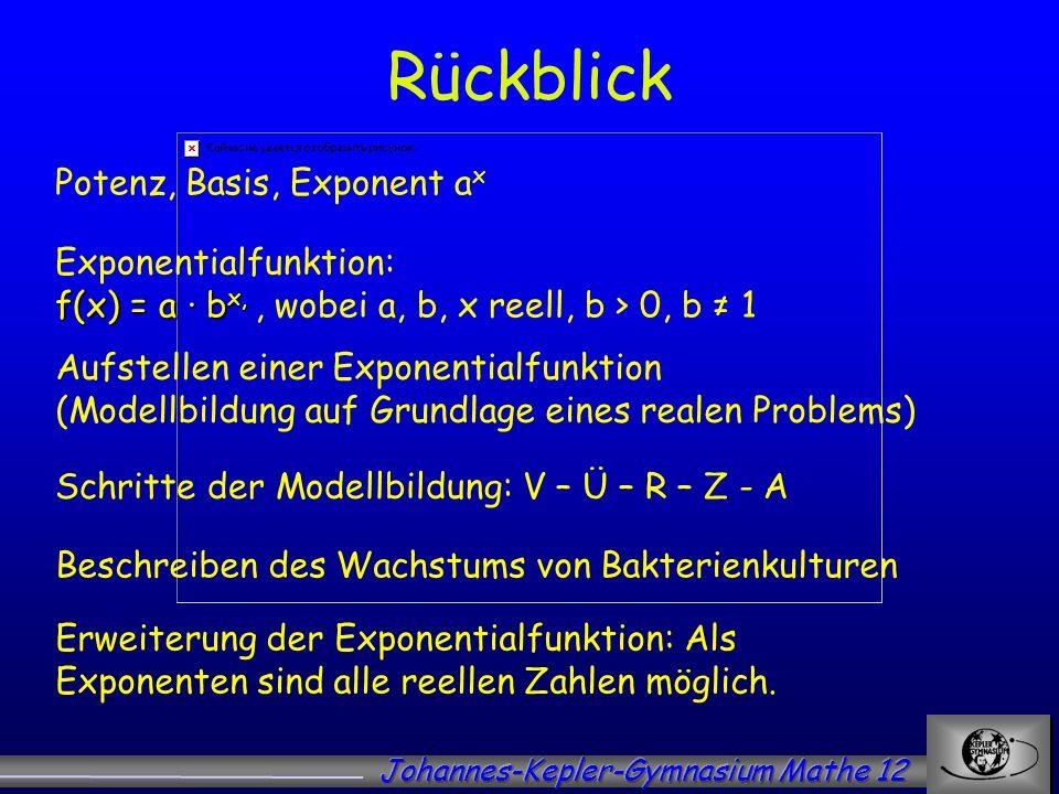 Rückblick Potenz, Basis, Exponent a x f(x) = a b x, Exponentialfunktion: f(x) = a b x,, wobei a, b, x reell, b > 0, b 1 Schritte der Modellbildung: V