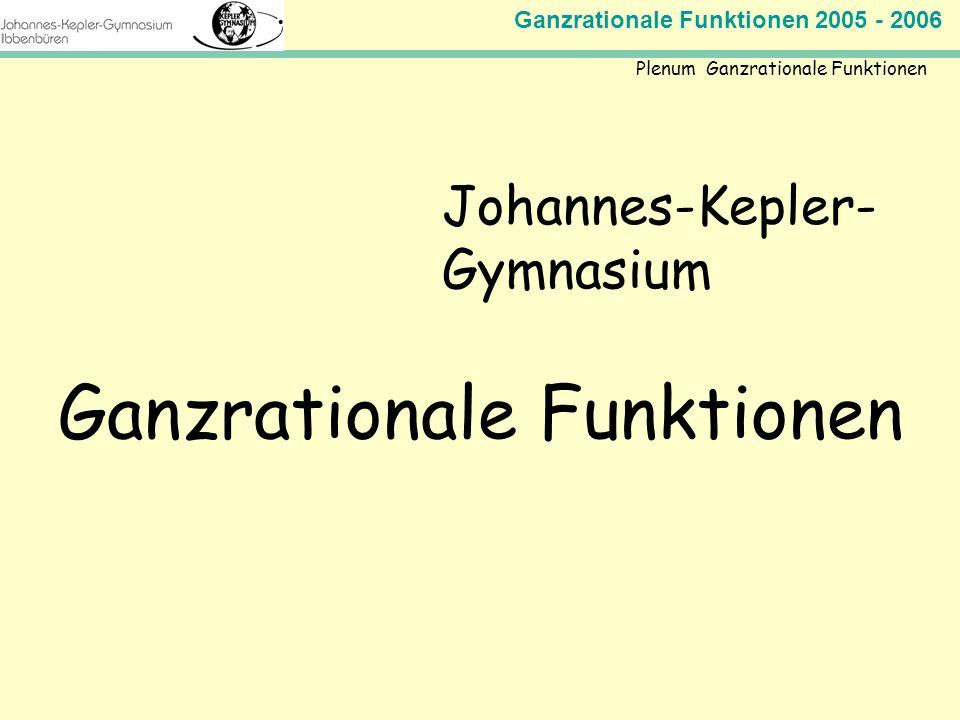 Ganzrationale Funktionen 2005 - 2006 Mathematik Jahrgangsstufe 11 Johannes-Kepler- Gymnasium Ganzrationale Funktionen Plenum Ganzrationale Funktionen