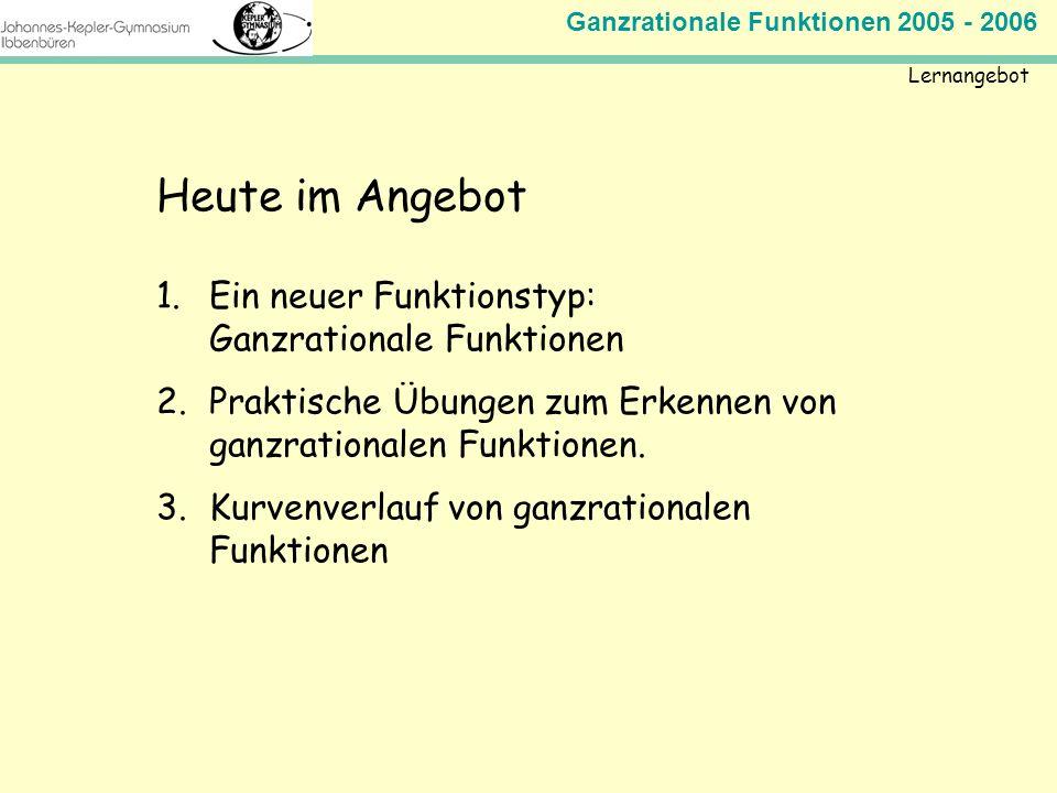 Ganzrationale Funktionen 2005 - 2006 Mathematik Jahrgangsstufe 11 Lernangebot Heute im Angebot 1.Ein neuer Funktionstyp: Ganzrationale Funktionen 2.Pr