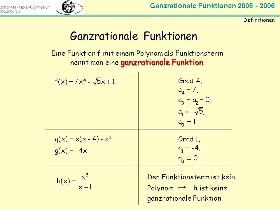 Ganzrationale Funktionen 2005 - 2006 Mathematik Jahrgangsstufe 11 Definitionen Ganzrationale Funktionen Eine Funktion f mit einem Polynom als Funktion