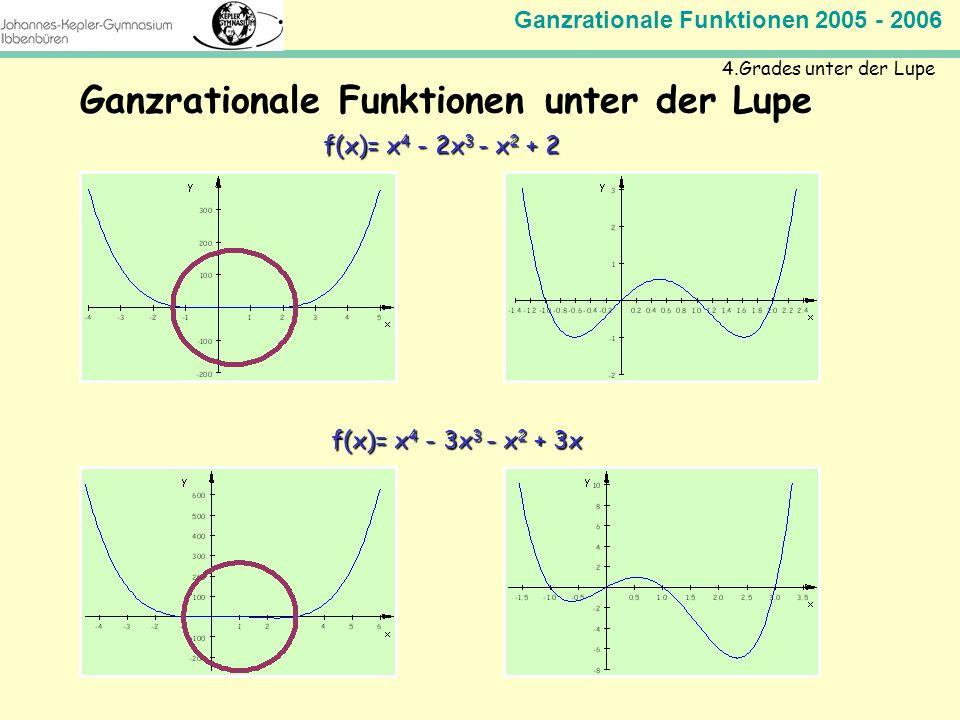 Ganzrationale Funktionen 2005 - 2006 Mathematik Jahrgangsstufe 11 Ganzrationale Funktionen unter der Lupe 4.Grades unter der Lupe f(x)= x 4 - 2x 3 - x