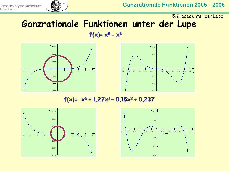 Ganzrationale Funktionen 2005 - 2006 Mathematik Jahrgangsstufe 11 Ganzrationale Funktionen unter der Lupe 5.Grades unter der Lupe f(x)= x 5 - x 3 f(x)