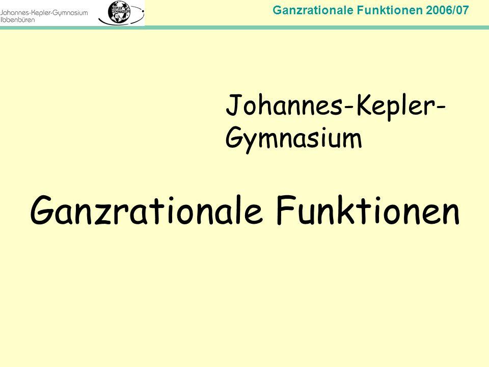 Ganzrationale Funktionen 2006/07 Mathematik Jahrgangsstufe 11 Johannes-Kepler- Gymnasium Ganzrationale Funktionen