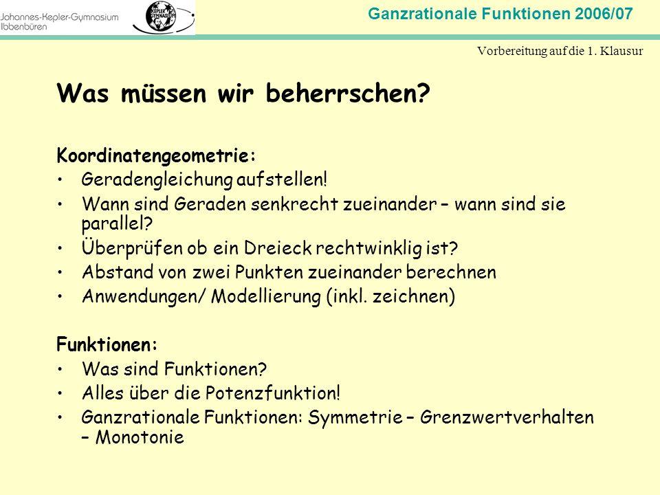 Ganzrationale Funktionen 2006/07 Mathematik Jahrgangsstufe 11 Vorbereitung auf die 1. Klausur Was müssen wir beherrschen? Koordinatengeometrie: Gerade