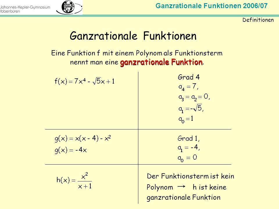 Ganzrationale Funktionen 2006/07 Mathematik Jahrgangsstufe 11 Definitionen Ganzrationale Funktionen Eine Funktion f mit einem Polynom als Funktionster