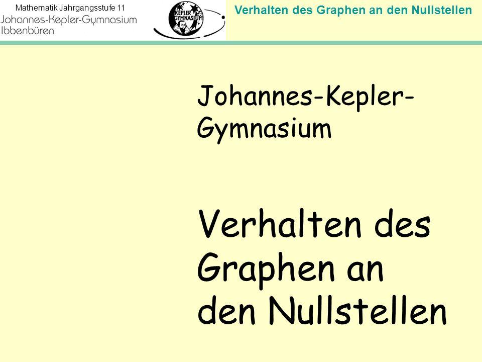 Verhalten des Graphen an den Nullstellen Mathematik Jahrgangsstufe 11 Johannes-Kepler- Gymnasium Verhalten des Graphen an den Nullstellen