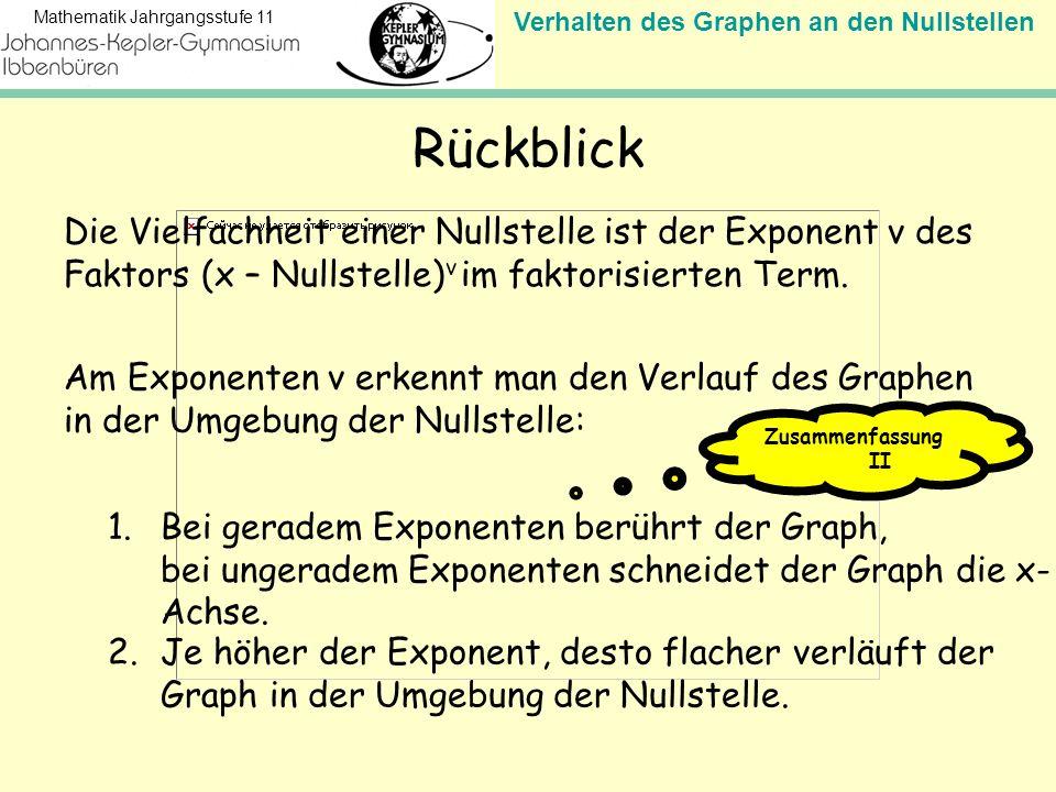 Verhalten des Graphen an den Nullstellen Mathematik Jahrgangsstufe 11 Rückblick Die Vielfachheit einer Nullstelle ist der Exponent v des Faktors (x –