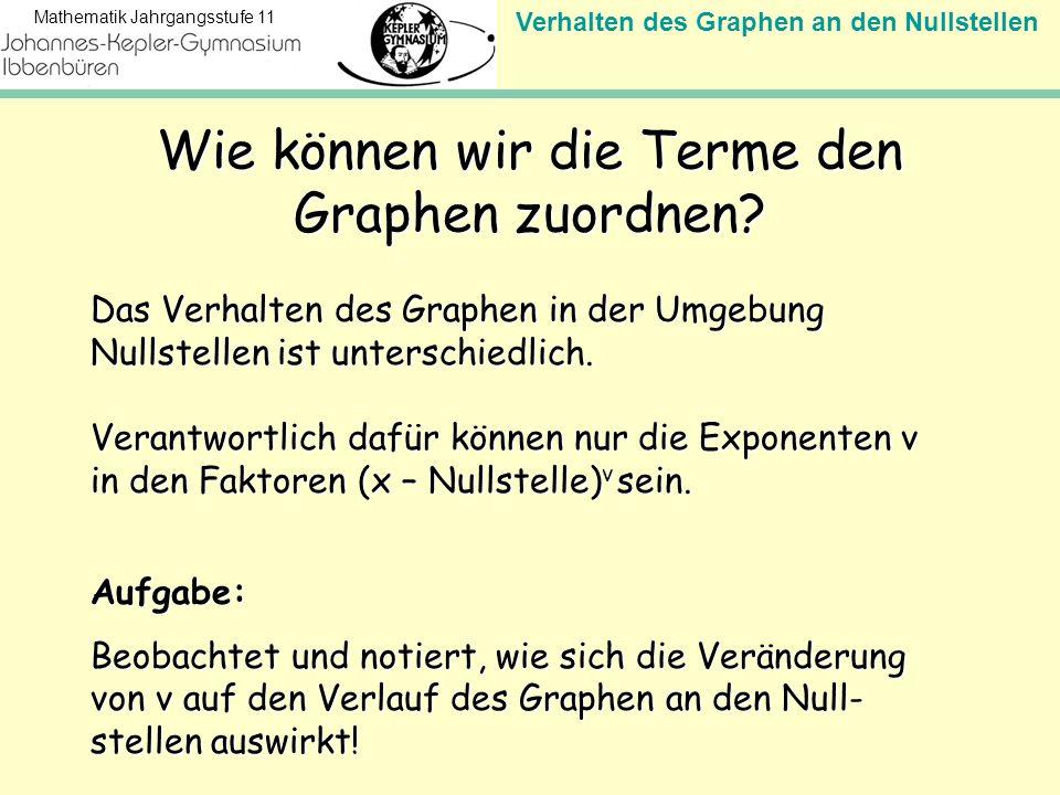 Verhalten des Graphen an den Nullstellen Mathematik Jahrgangsstufe 11 Wie können wir die Terme den Graphen zuordnen? Das Verhalten des Graphen in der