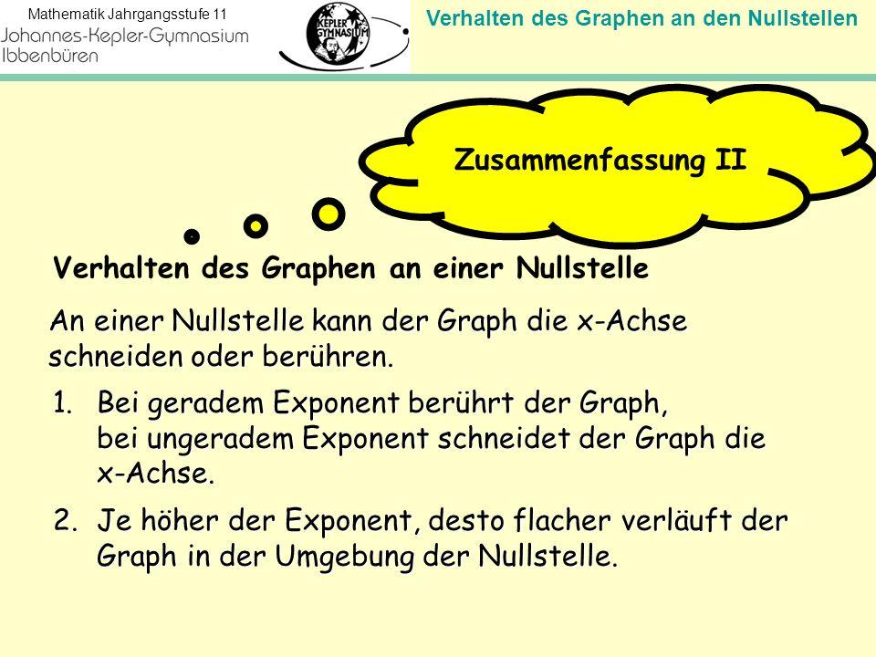 Verhalten des Graphen an den Nullstellen Mathematik Jahrgangsstufe 11 An einer Nullstelle kann der Graph die x-Achse schneiden oder berühren. Zusammen