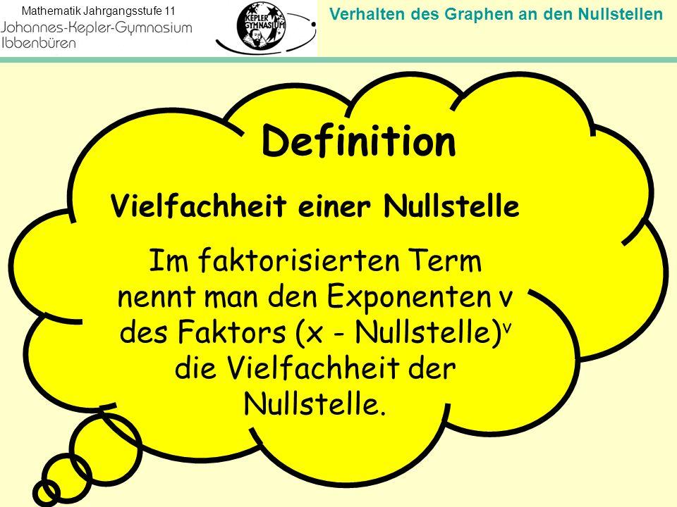 Verhalten des Graphen an den Nullstellen Mathematik Jahrgangsstufe 11 Vielfachheit einer Nullstelle Im faktorisierten Term nennt man den Exponenten v