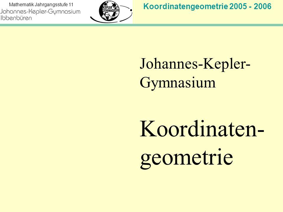 Koordinatengeometrie 2005 - 2006 Mathematik Jahrgangsstufe 11 Ergebnis: Nach 3 Stunden 20 Minuten umarmen sie sich bei 6 km 666 m und 67 cm
