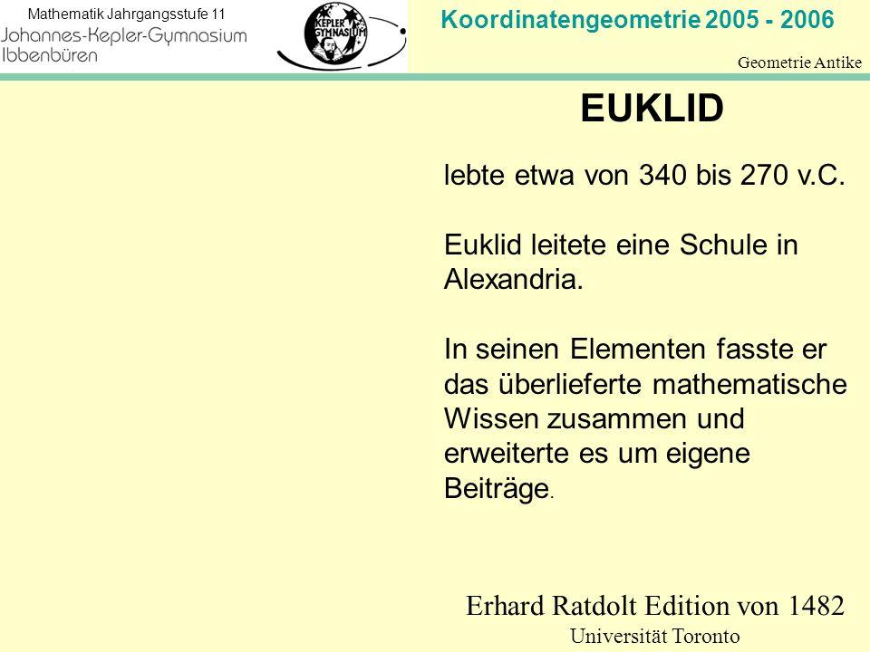 Koordinatengeometrie 2005 - 2006 Mathematik Jahrgangsstufe 11 Geometrie Antike Erhard Ratdolt Edition von 1482 Universität Toronto EUKLID lebte etwa v