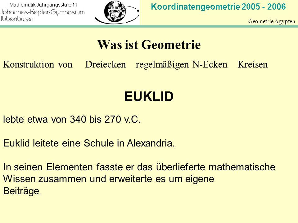 Koordinatengeometrie 2005 - 2006 Mathematik Jahrgangsstufe 11 Geometrie Ägypten Was ist Geometrie Konstruktion von Dreiecken regelmäßigen N-Ecken Krei