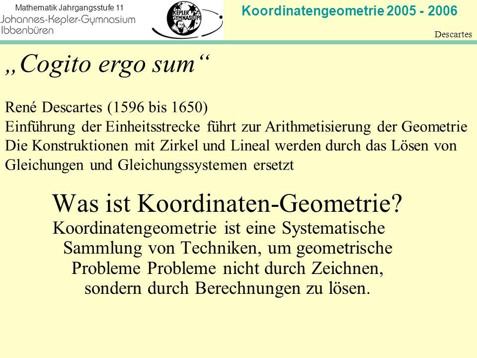 Koordinatengeometrie 2005 - 2006 Mathematik Jahrgangsstufe 11 Descartes Cogito ergo sum René Descartes (1596 bis 1650) Einführung der Einheitsstrecke