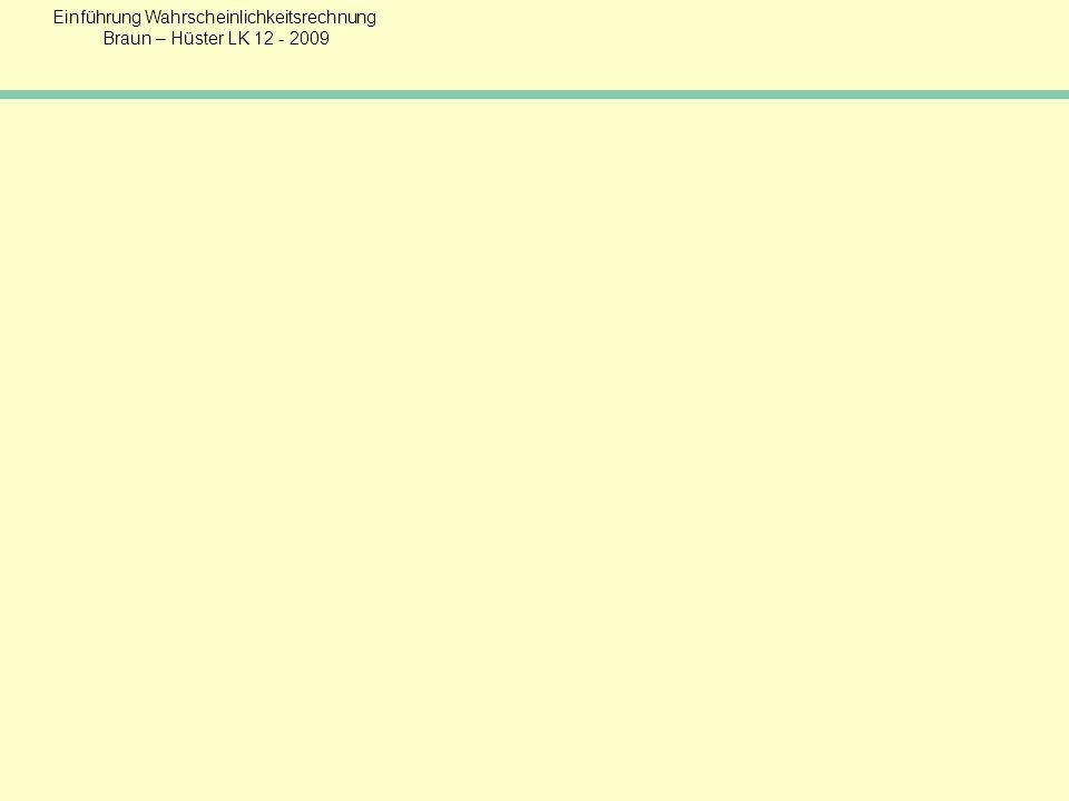 Einführung Wahrscheinlichkeitsrechnung Braun – Hüster LK 12 - 2009