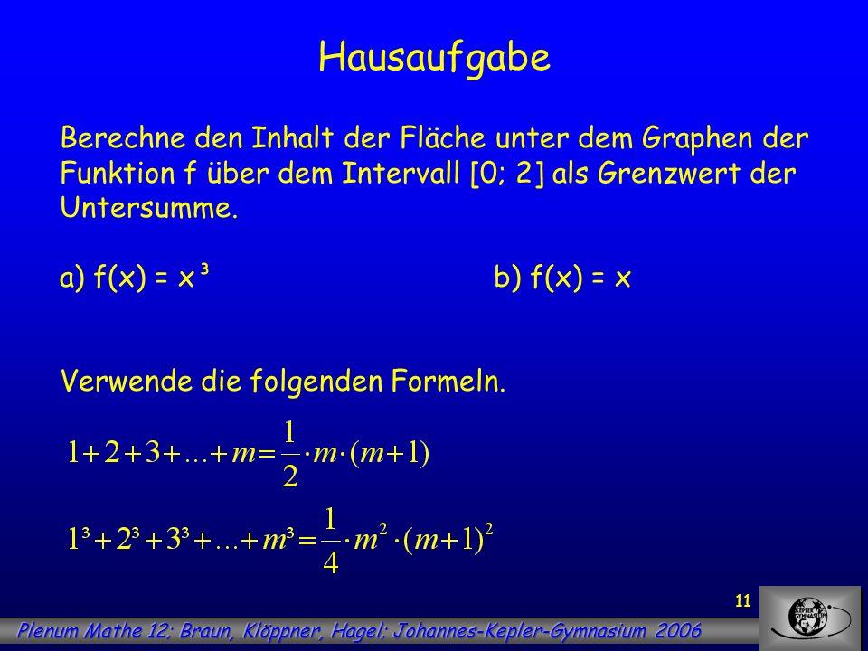 11 Hausaufgabe Berechne den Inhalt der Fläche unter dem Graphen der Funktion f über dem Intervall [0; 2] als Grenzwert der Untersumme. a) f(x) = x³b)