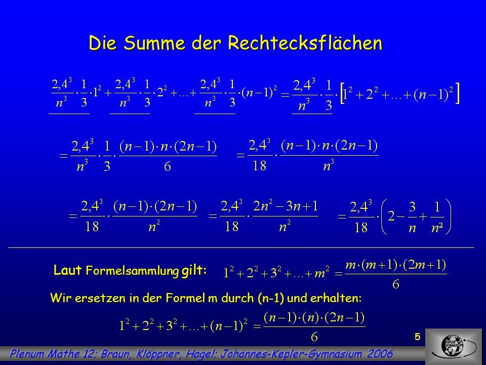 5 Die Summe der Rechtecksflächen Laut Formelsammlung gilt: Wir ersetzen in der Formel m durch (n-1) und erhalten: