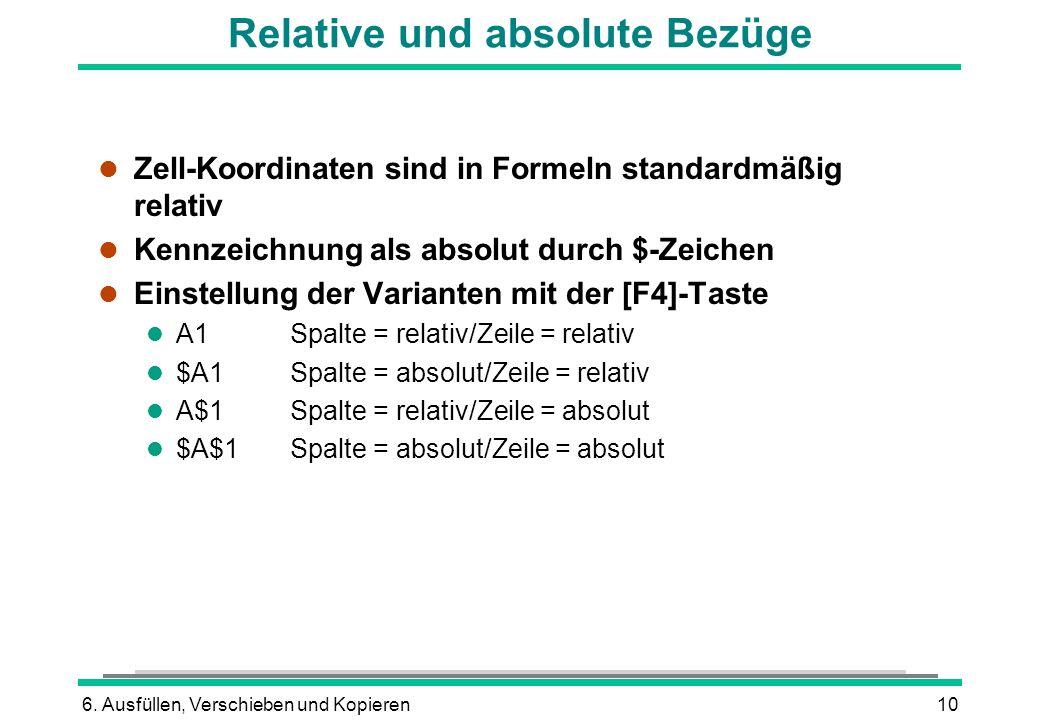 6. Ausfüllen, Verschieben und Kopieren10 Relative und absolute Bezüge l Zell-Koordinaten sind in Formeln standardmäßig relativ l Kennzeichnung als abs