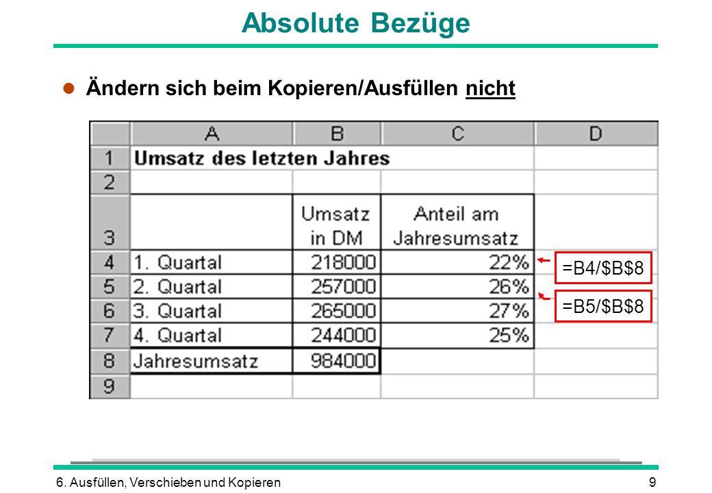 6. Ausfüllen, Verschieben und Kopieren9 Absolute Bezüge l Ändern sich beim Kopieren/Ausfüllen nicht =B4/$B$8 =B5/$B$8