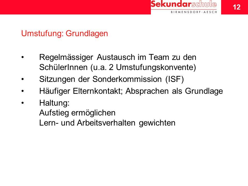 12 Schuljahresbeginn 2007/08 12 Umstufung: Grundlagen Regelmässiger Austausch im Team zu den SchülerInnen (u.a.