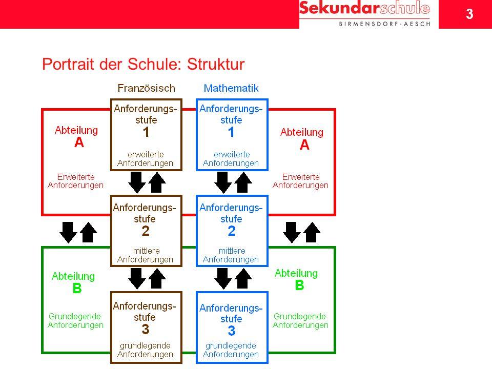 4 Schuljahresbeginn 2007/08 4 Portrait der Schule: Struktur Merkmale kein gleichmässiger Anteil der A- und B- SchülerInnen eine Mischklasse A/B gemischte Anforderungsstufen Anforderungsstufe II: in der Regel die grösste Gruppe