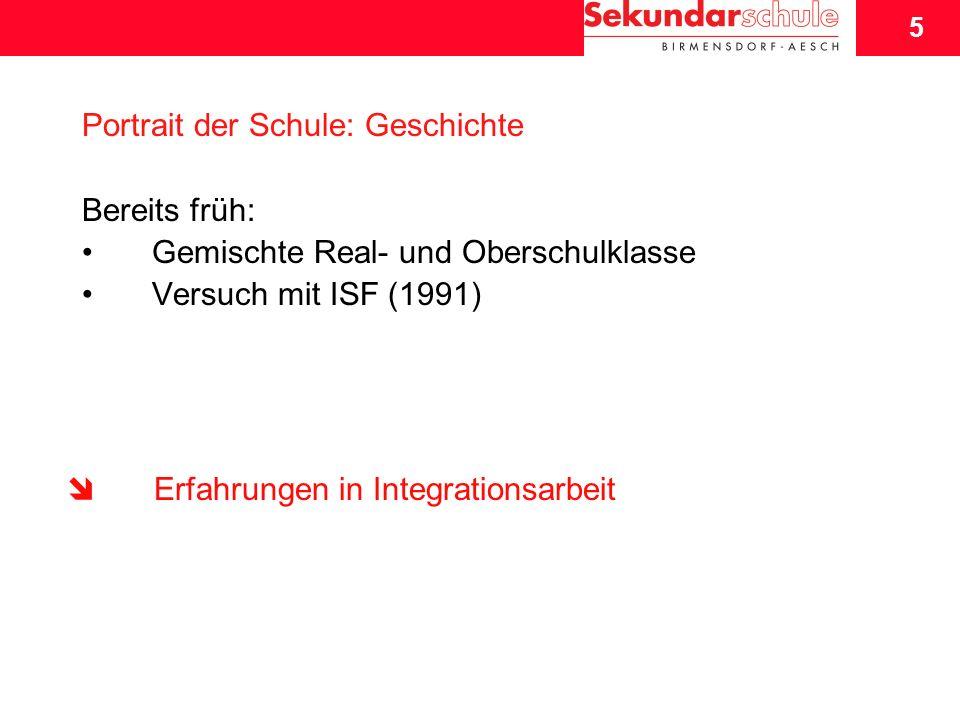 5 Schuljahresbeginn 2007/08 5 Portrait der Schule: Geschichte Bereits früh: Gemischte Real- und Oberschulklasse Versuch mit ISF (1991) Erfahrungen in Integrationsarbeit
