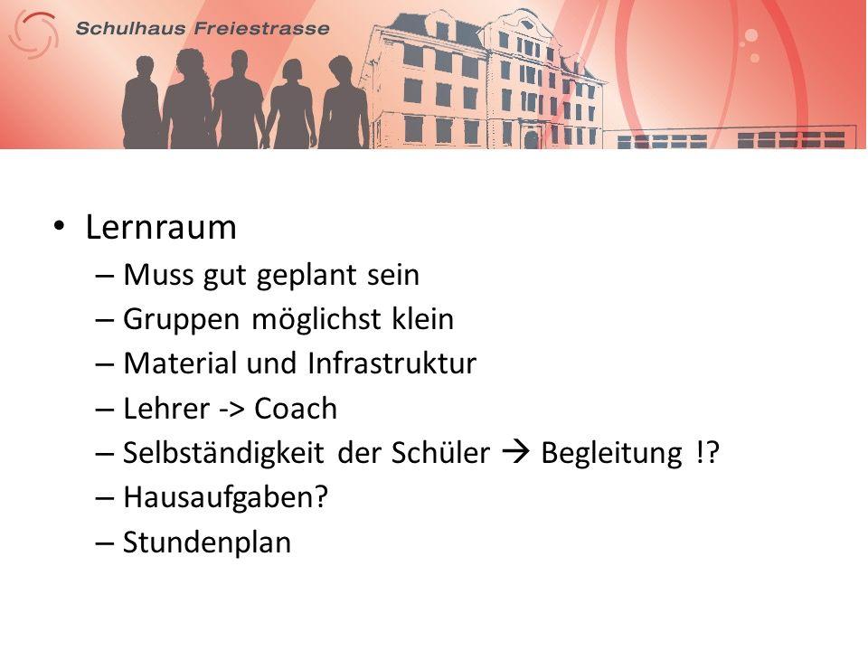 Lernraum – Muss gut geplant sein – Gruppen möglichst klein – Material und Infrastruktur – Lehrer -> Coach – Selbständigkeit der Schüler Begleitung !.