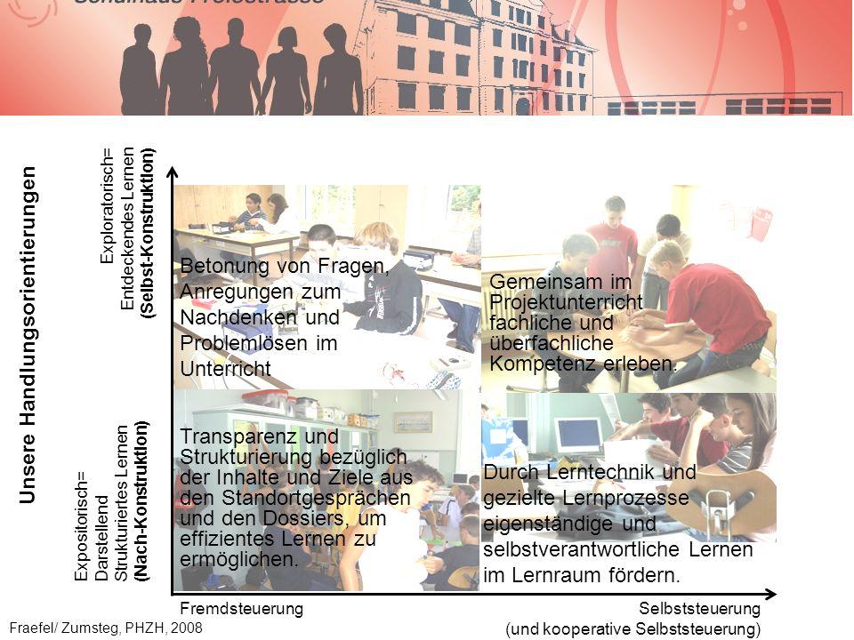 Betonung von Fragen, Anregungen zum Nachdenken und Problemlösen im Unterricht Transparenz und Strukturierung bezüglich der Inhalte und Ziele aus den Standortgesprächen und den Dossiers, um effizientes Lernen zu ermöglichen.