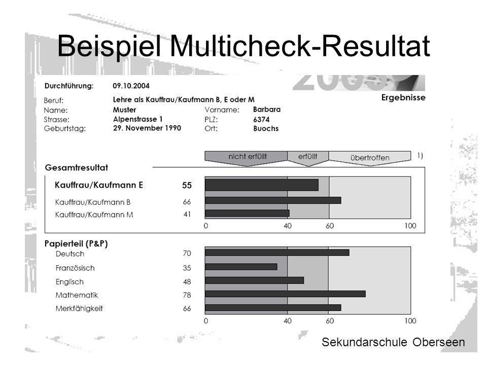 Beispiel Multicheck-Resultat Sekundarschule Oberseen