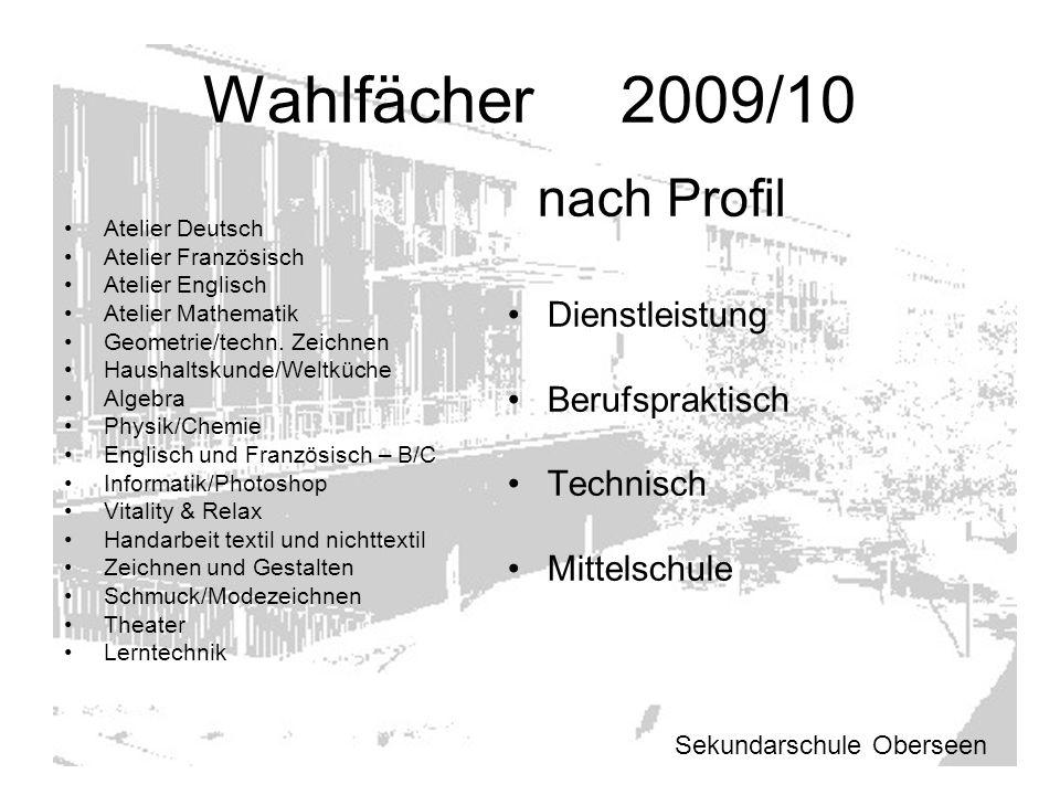 Wahlfächer 2009/10 Atelier Deutsch Atelier Französisch Atelier Englisch Atelier Mathematik Geometrie/techn. Zeichnen Haushaltskunde/Weltküche Algebra