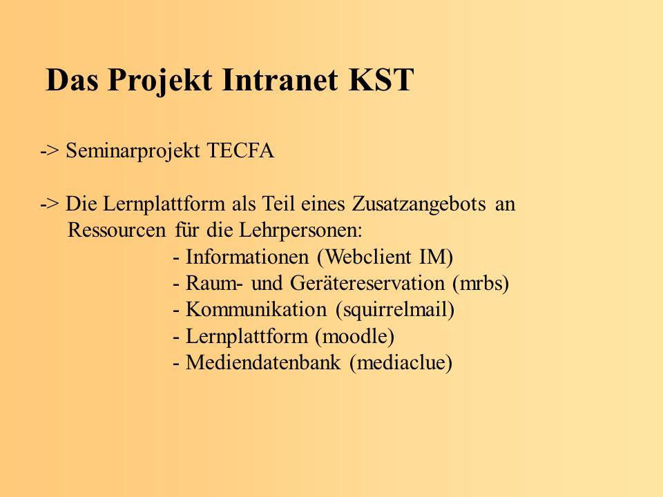 Das Projekt Intranet KST -> Seminarprojekt TECFA -> Die Lernplattform als Teil eines Zusatzangebots an Ressourcen für die Lehrpersonen: - Informationen (Webclient IM) - Raum- und Gerätereservation (mrbs) - Kommunikation (squirrelmail) - Lernplattform (moodle) - Mediendatenbank (mediaclue)