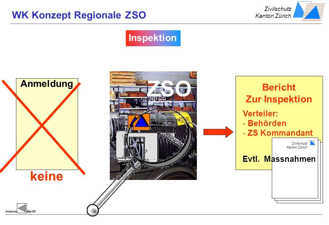 Zivilschutz Kanton Zürich Internet Dok/Mai 05 Anmeldung keine Bericht Zur Inspektion Zivilschutz Kanton Zürich Verteiler: - Behörden - ZS Kommandant Evtl.