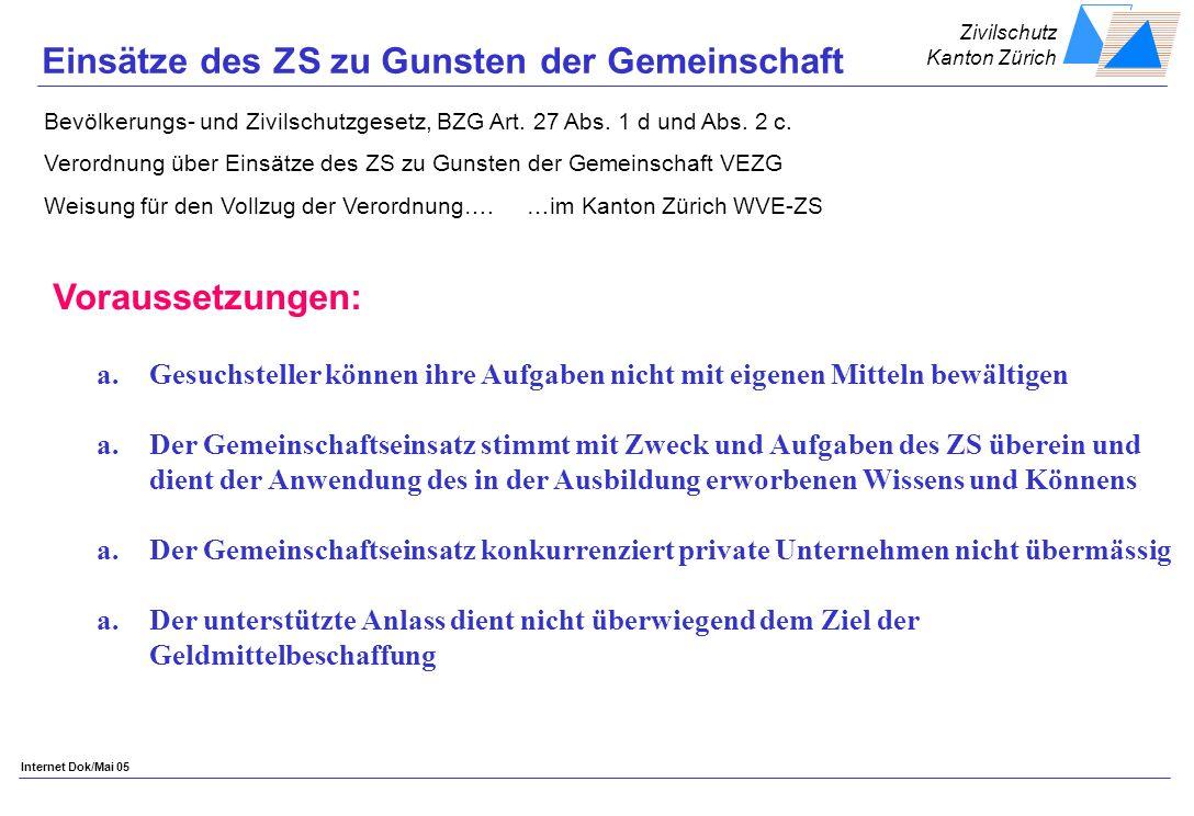 Zivilschutz Kanton Zürich Internet Dok/Mai 05 Einsätze des ZS zu Gunsten der Gemeinschaft Bevölkerungs- und Zivilschutzgesetz, BZG Art.