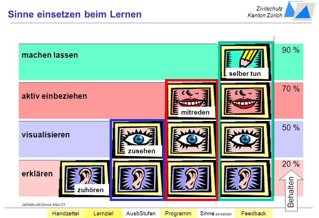 Zivilschutz Kanton Zürich HandzettelLernzielAusbStufenProgrammSinne einsetzen Feedback Arbeitsprogramm Musterlingen Unterstützungszüge WK 200x Detaila