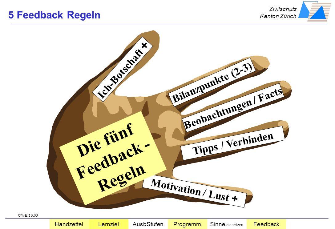 Zivilschutz Kanton Zürich HandzettelLernzielAusbStufenProgrammSinne einsetzen Feedback 90 % 70 % 50 % 20 % zuhören zusehen mitreden selber tun visuali