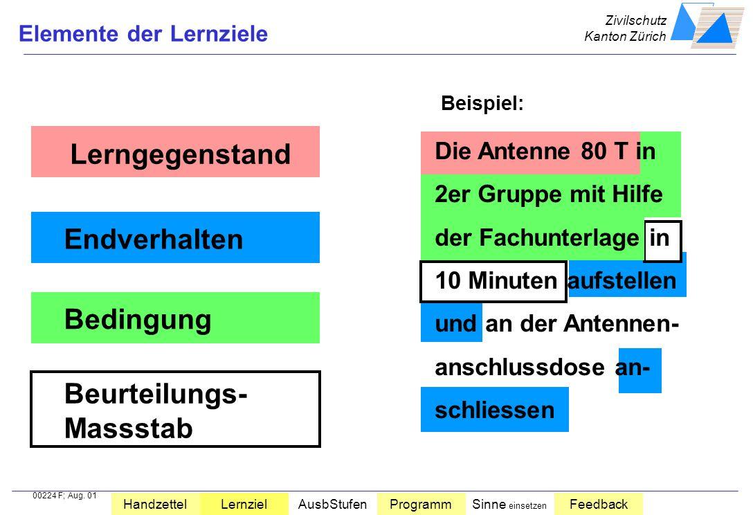 Zivilschutz Kanton Zürich HandzettelLernzielAusbStufenProgrammSinne einsetzen Feedback Zielformulierung Wissen vor der Ausbildung Wissen nach der Ausb
