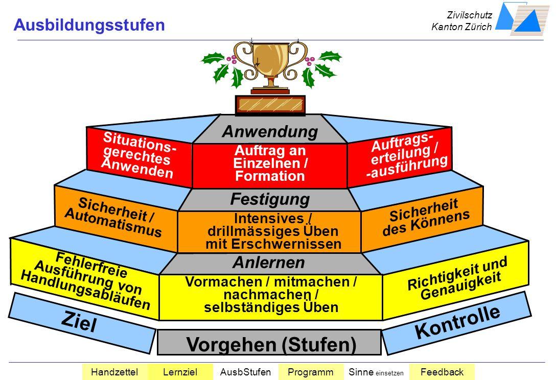 Zivilschutz Kanton Zürich HandzettelLernzielAusbStufenProgrammSinne einsetzen Feedback Endverhalten Bedingung Beurteilungs- Massstab Beispiel: Die Ant