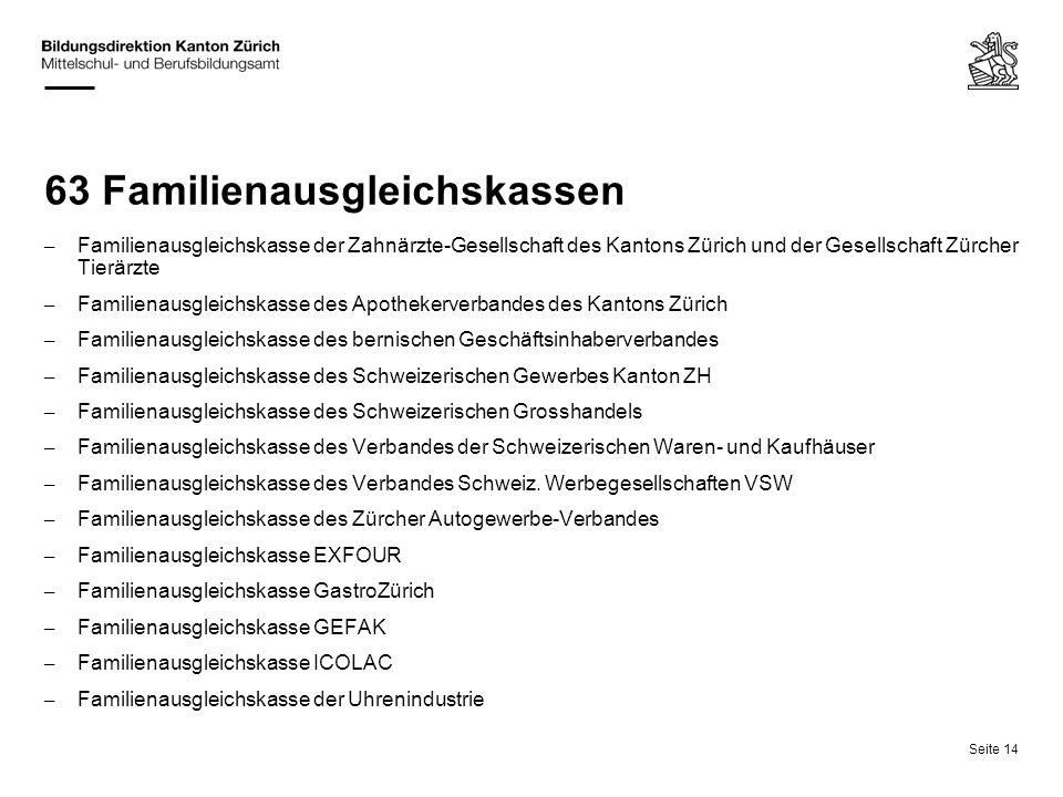 Seite 14 63 Familienausgleichskassen – Familienausgleichskasse der Zahnärzte-Gesellschaft des Kantons Zürich und der Gesellschaft Zürcher Tierärzte –