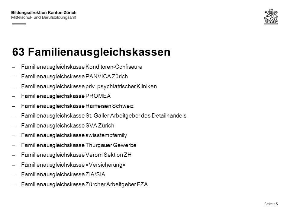 Seite 15 63 Familienausgleichskassen – Familienausgleichskasse Konditoren-Confiseure – Familienausgleichskasse PANVICA Zürich – Familienausgleichskass