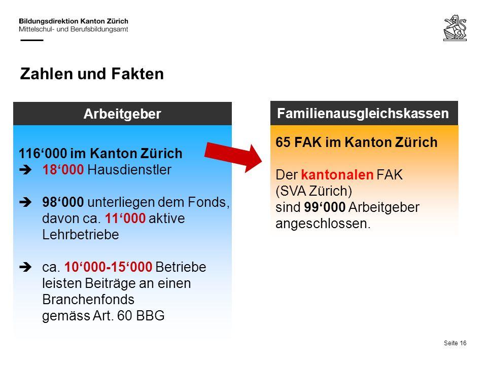 Seite 16 Zahlen und Fakten 116000 im Kanton Zürich 18000 Hausdienstler 98000 unterliegen dem Fonds, davon ca. 11000 aktive Lehrbetriebe ca. 10000-1500