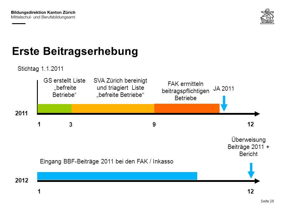 Seite 26 Erste Beitragserhebung 2012 1 12 JA 2011 Eingang BBF-Beiträge 2011 bei den FAK / Inkasso Überweisung Beiträge 2011 + Bericht Stichtag 1.1.201