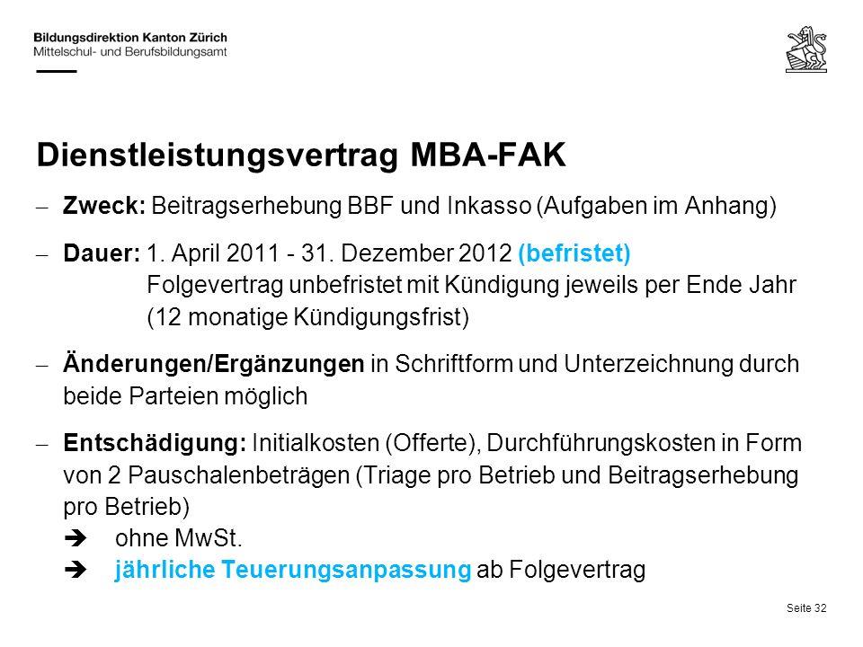 Seite 32 Dienstleistungsvertrag MBA-FAK – Zweck: Beitragserhebung BBF und Inkasso (Aufgaben im Anhang) – Dauer: 1. April 2011 - 31. Dezember 2012 (bef